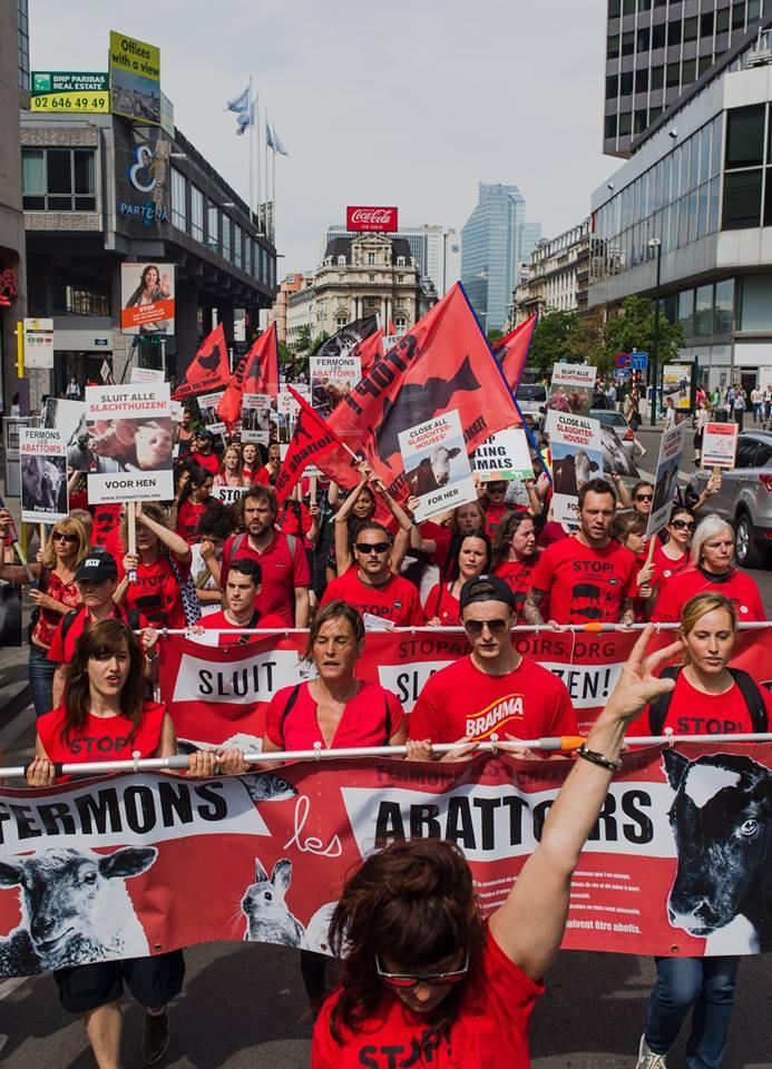 Photo de la Marche pour la fermeture des abattoirs 2015 à Bruxelles