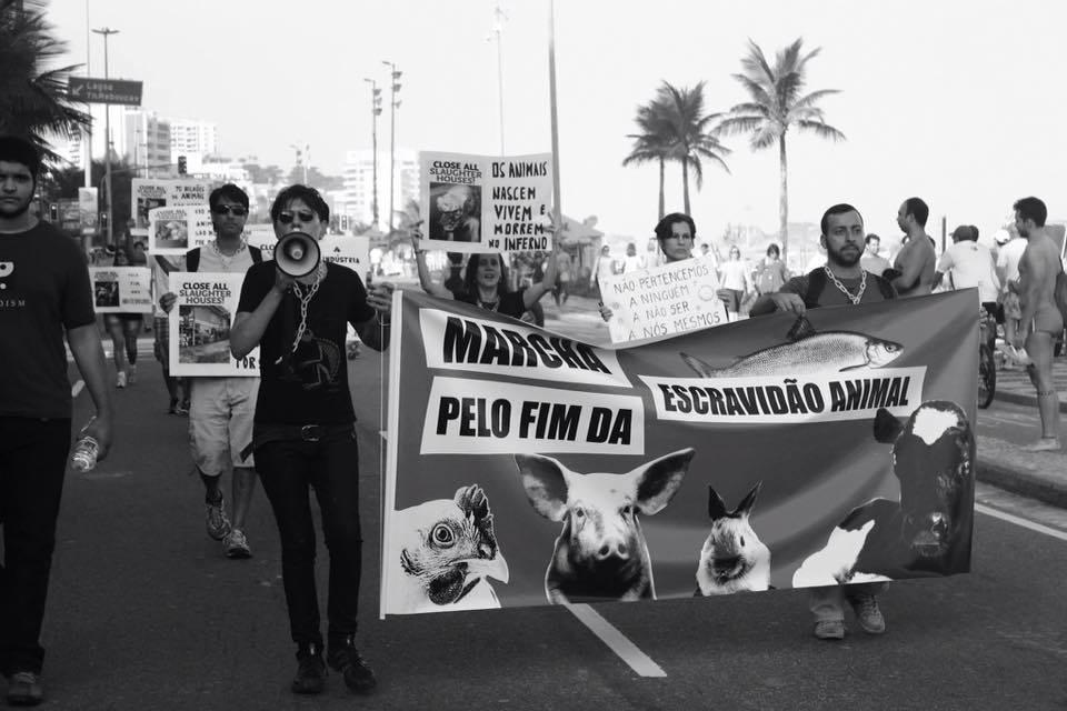 Photo d'une action pour la fermeture des abattoirs 2015 à Rio de Janeiro