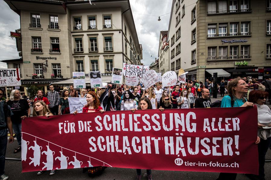 Marche pour la fermeture des abattoirs à Berne